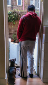 Standing by the door with a dog looking