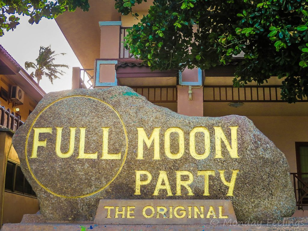 The logo of the Full Moon Party 2019 carved on rock
