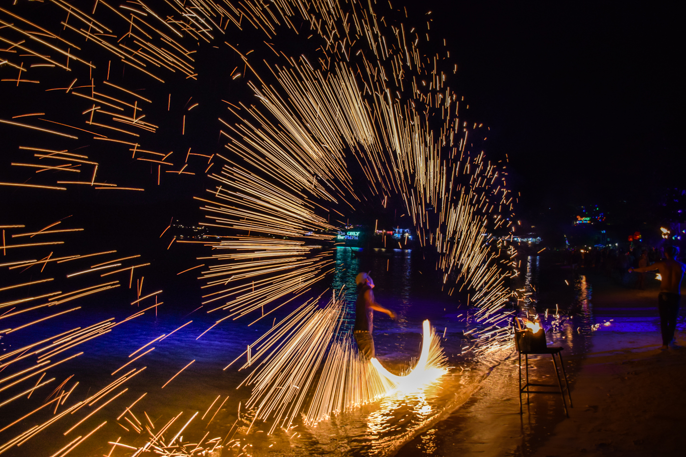 A fire show at the Full Moon Party in Thailand