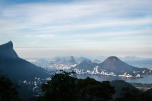 overview of Rio de Janeiro with Christ, the Redeemer on top of the mountain overlooking the Guanabara Bay