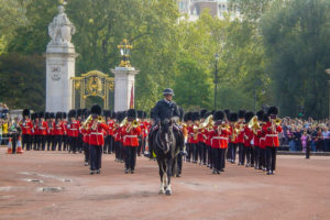 The Royal British Guards marching in Buckingham Palace
