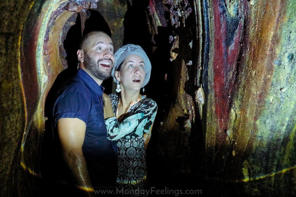 Tiago and Fernanda in the rainbow cave in Hormuz Island, Iran