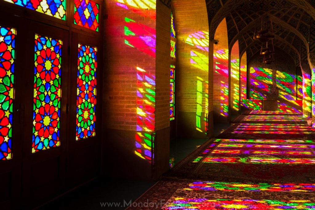 The reflections in the Pink Mosque in Shiraz, Iran