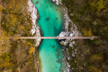 Aerial shot of Soca River, Slovenia