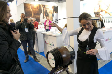 Tasting at the Andalucia stand during the BIT Milan