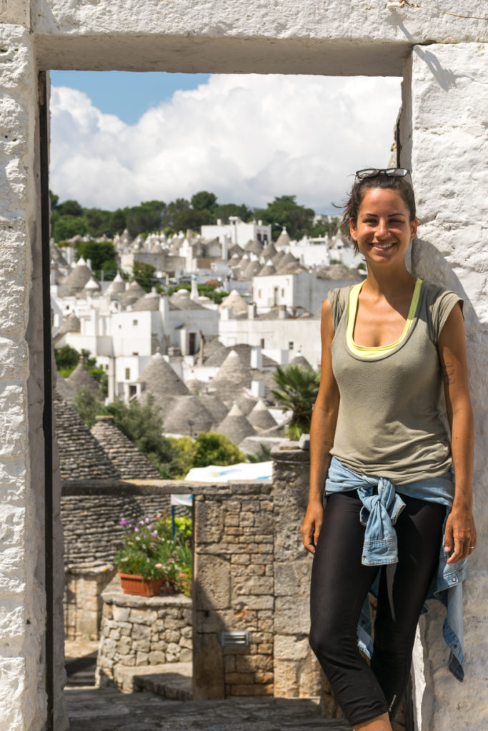 Fernanda and many trulli in alberobello