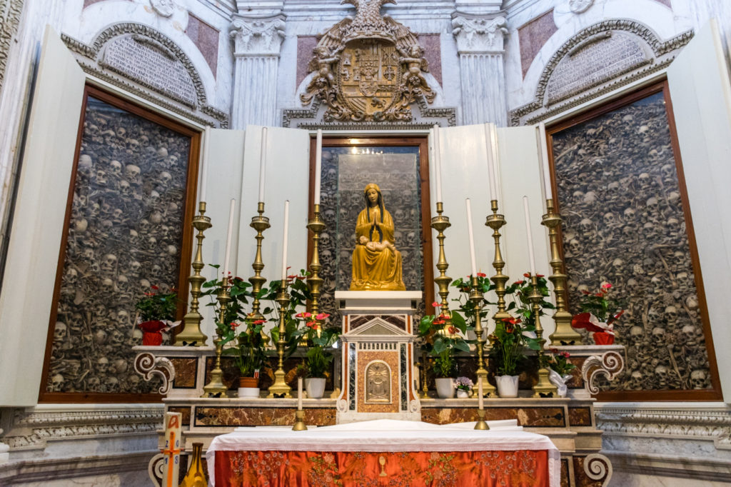 an altar with more than 800 mortal remains of human in Puglia