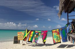 Beach in Jamaica and towel hanging