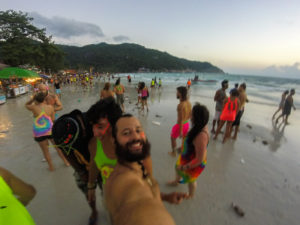At the beach during the Full Moon Party 2019 full of dirty