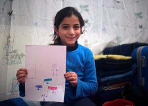 Syrian girl child hold a paper with a draw