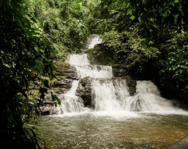 waterfall with many falls in the forest