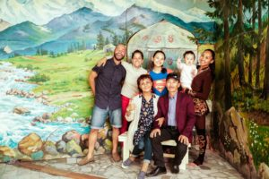 Tiago and Fernanda with a family from Kyrgyzstan on a supposed jailoo