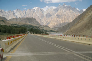 Road with the mountains in the background