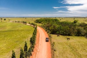 aerial view of the car driving in a dirt road surrounded by nature