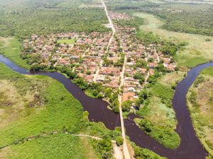 Aerial view of Itaunas in between the rivers
