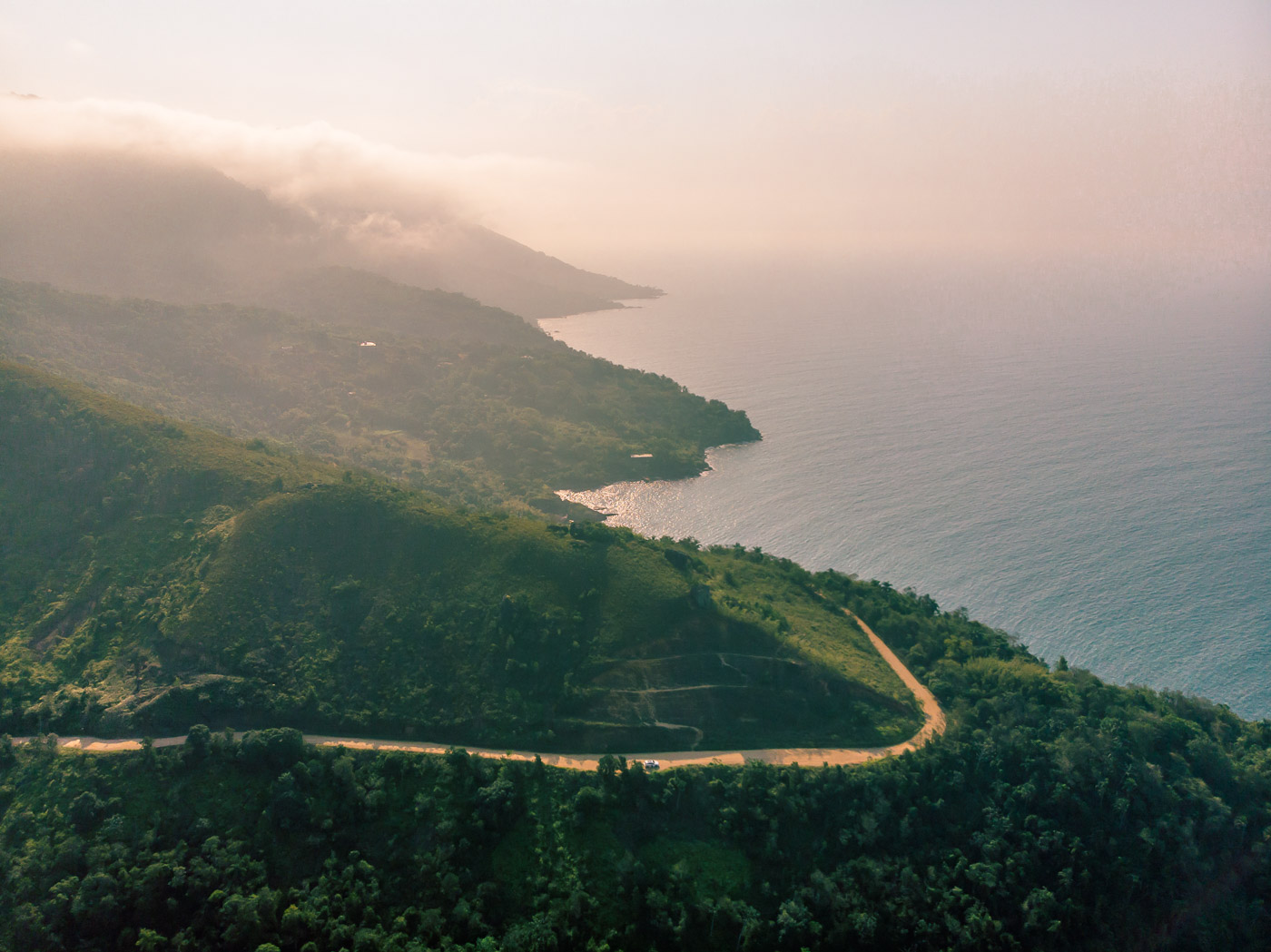 aerial view of the trails of Ilhabela with the sea and the coast